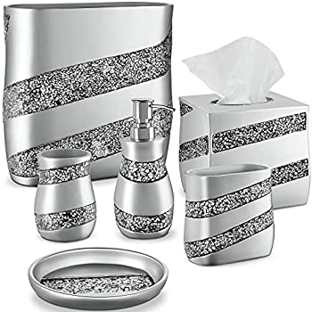 DWELLZA 6-Piece Bathroom Accessories Set Complete Bath Set Includes Countertop Soap Dispenser Toothbrush Holder Tumbler Soap Dish Square Tissue Cover Wastebasket  Silver Mosaic