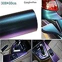 CompraFun carbon folie Chamäleon Blau Lila Autofolie Vinyl Luftkanäle BLASENFREI flexibel selbstklebend Auto Shutz Folie