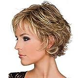 Perruque,Perruque de cheveux courts de femmes européennes et américaines, coiffure en soie mat haute température en fibre de verre dégradé brun jaune