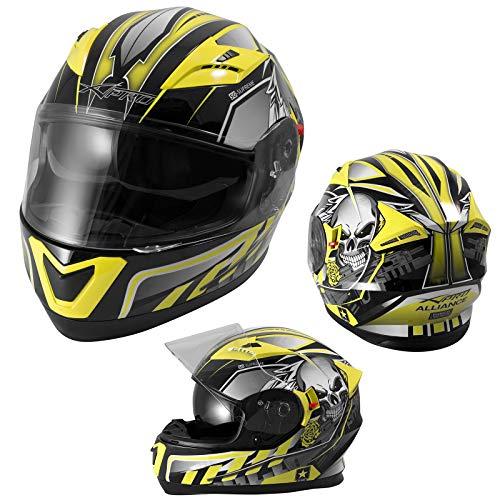 Integralhelm Motorradhelm Rollerhelm Sonnenblende Helm ECE 22-05 Homologiert Gelb L