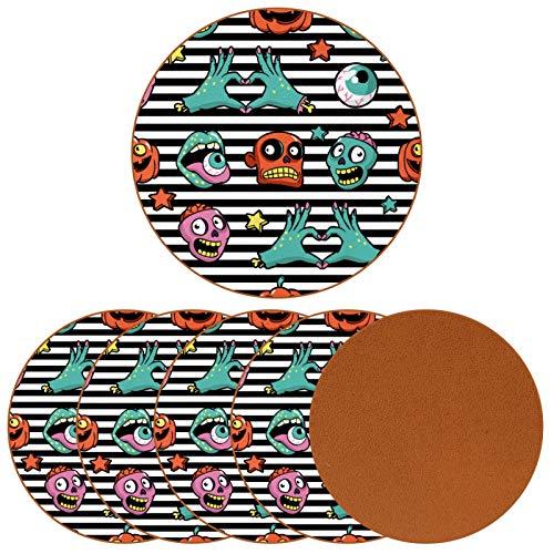 Posavasos para bebidas Scarry Zombies cara ojo bola y cabeza impresión redonda taza taza almohadilla almohadilla para proteger muebles, resistente al calor, decoración de bar de cocina, juego de 6