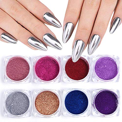 Poudre à ongles,Miroir Nail Glitter Set Rose Sliver Powder, Metallic Manicure Dipping Powder Nail Art Pigment Dust 13 pc