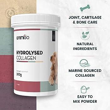Animigo Poudre Collagène Hydrolysé - Soin Articulations Naturel pour Petit et Grand Chien - avec Collagène Hydrolysé, Glucosamine, Vitamine C, Acide Hyaluronique - 300g de Poudre pour Chiens