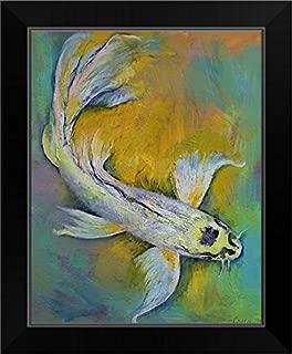 CANVAS ON DEMAND Kujaku Butterfly Koi Black Framed Art Print, 14