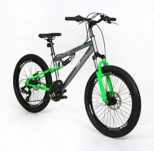 24' LIT Boys Kids BIKE - Adult FireCloud DISC Bicycle in GREEN (Dual Sus)