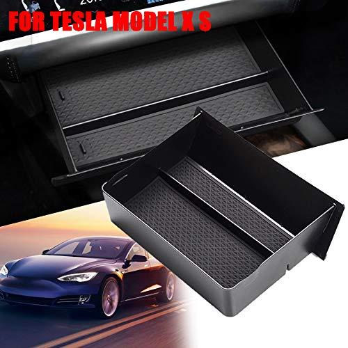 gfyee Auto Central Console Aufbewahrungsbox Kompatibel mit Tesla Model X/S, Autozubehör Innenfront Handschuhfach Mittelkonsole Armlehne Organizer Tray Mit Rutschfester Matte, Autositz Organizer