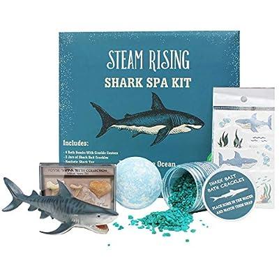 STEAM RISING | Shark Spa Kit: Shark Bath Bomb w/Bath Crackles Inside, Vinyl Shark Toy, 2 Jars Bath Crackles, Tattoos, Real Fossil Shark Teeth | Boys Shark Birthday Gift | Safe Natural & Organic