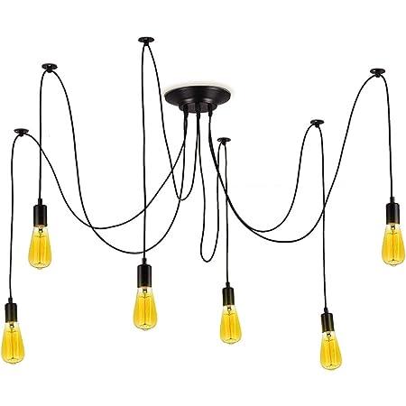 Barcelona LED Lustre Suspendu Noir Lampe Vintage Rétro Style avec 6 Bras Réglable E27 LED, pour Salle À Manger Salon Cuisine Bar