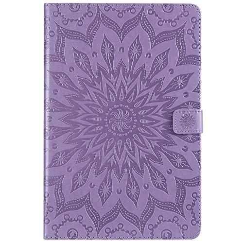 KM-WEN - Funda para tablet Amazon Kindle Paperwhite (1-4) (piel sintética, 15,2 cm), diseño de girasol, color blanco morado Samsung Galaxy Tab S4 SM-T830/SM-T835