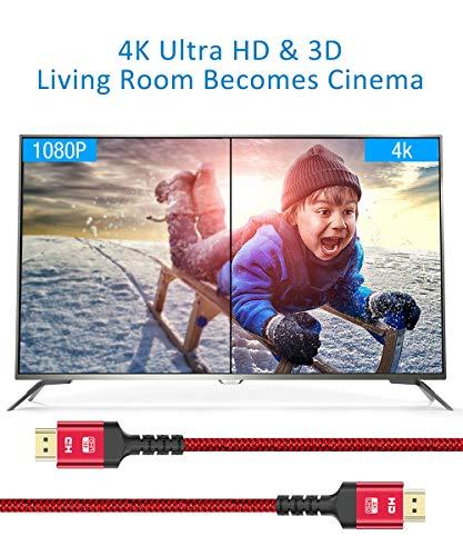 4K HDMI Kabel 2Meter, Snowkids Highspeed HDMI 2.0 Kabel 4K@60Hz 18Gbps Nylongeflecht Vergoldete Anschlüsse mit Ethernet/Audio-Rückkanal, Kompatibel mit Video 4K UHD 2160p, HD 1080p, 3D, PS4-Rot