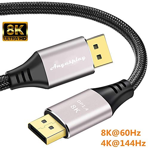 ConnBull 8K DisplayPort 1.4 Cable 1.5m, Ultra HD DisplayPort 4K 144Hz Cable Compatible con HBR3 (Resolución 7680x4320), 32.4 Gbps, 8K@60Hz, MST, HDR10 para monitor tarjeta gráfica de vídeo etc