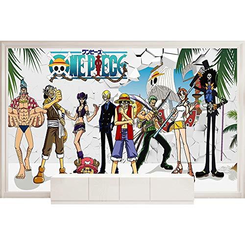 One Piece Luffy 3D Anime Benutzerdefinierte Fototapete Wandbild Wallpaper Mural Wand Tapete Wandkunst Raumdekor Schlafzimmerjungen-Hintergrundwand Des Wandstoffkinderzimmers 250Cmx175Cm