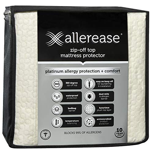 AllerEase Platinum Mattress Protector-360 Degree Zip-Off Top, Antimicrobial, Temperature Balancing Technology Plush Protection Against Bedbugs, Dust Mites & Ped Dander, Twin Sized