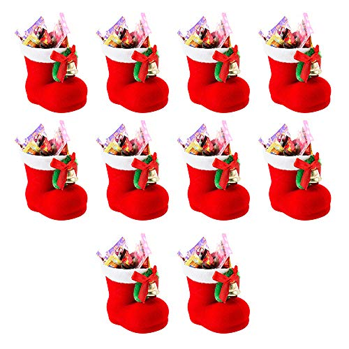 Your's Bath Nikolausstiefel Weihnachtsstrümpfe zum Befüllen Weihnachtsdeko Rot Klein Plüsch Stoff Weihnachtsstiefel Set Süßigkeiten Weihnachtssocken (10Stücke)