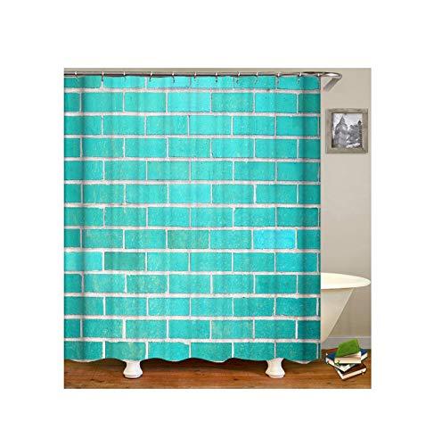 Abellale Design Duschvorhang Ziegel Lustiger Duschvorhang Blau 90x180CM