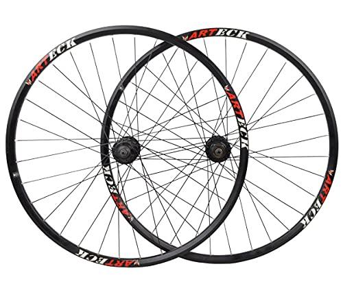 LHHL MTB Llantas Doble Pared27.5/29' Juego Ruedas Bicicleta Rodamiento De Bolas Liberación Rápida Freno De Disco 7-10Velocidad QR 32H (Color : Black, Size : 27.5')