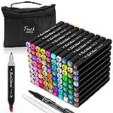 AOMEES Textmarker 80 Farben Permanent Marker Set Doppelspitzen Touch Filzstifte mit Highlighter Pen Fineliner und Tragetasche