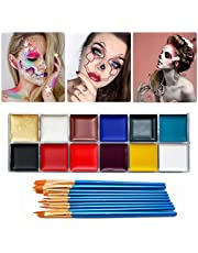 12 Color Face Body Paint Kit, Professional Face Painting Kit for Kids & Adults - Non-Toxic, Hypoallergenic Paints Palette for Halloween Party Cosplay, (42g / 1.48oz) with 10 Brushes