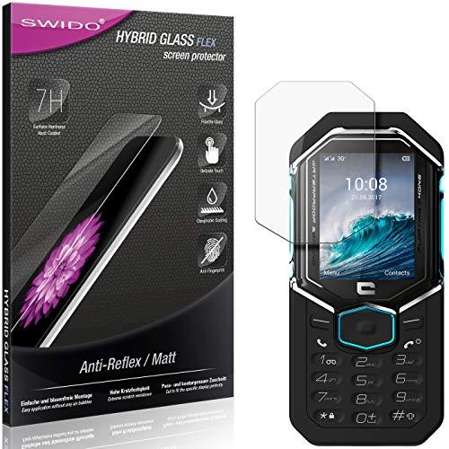 SWIDO Panzerglas Schutzfolie kompatibel mit Crosscall Shark X3 Bildschirmschutz Folie & Glas = biegsames HYBRIDGLAS, splitterfrei, MATT, Anti-Reflex - entspiegelnd