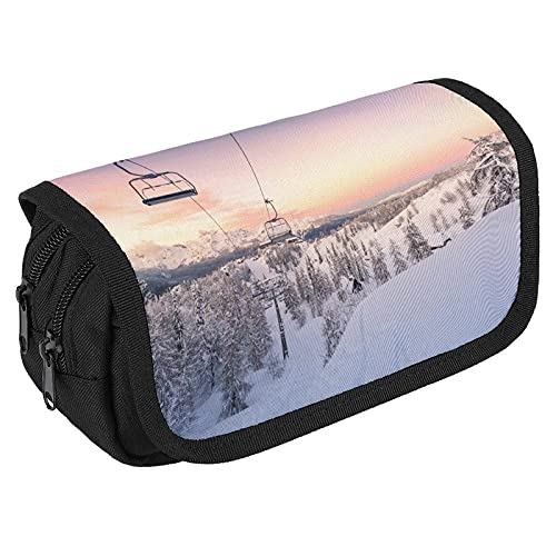Cute Pencil Case for Women Pencil Bag for Kids Large Capacity Pencil Boxes for Boys Girls Cool Ski Chair Lift Ski Snowboarding Pen Case Holder for Adults