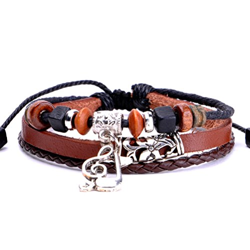 ZLYC Unisex Handmade Braid Vintage Style Leder Wrap Bracelet with Musical Notes Charms, Braun, length 7-10 inch