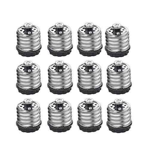 JMAF 12-Pack E40/E39 to E27/E26 Light Bulb Socket Adapter Converter, Adapter E26/E27 Bulb into E39/E40 for Led Bulb Lamp