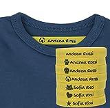 Haberdashery Online 100 Etichette Personalizzate in Ferro su Tessuto per contrassegnare i Vostri Vestiti con Varie Icone. Tela Gialla. Delicato sulla Pelle dei Vostri Bambini. (Giallo)
