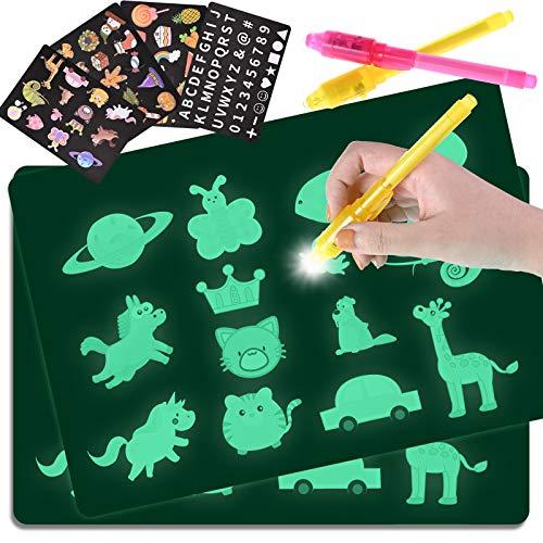 GOLDGE 2pcs Pizarra Infantil Mágica de Dibujo A4 y A5, con 4 Plantillas y 2 Bolígrafos Mágicos para Niños, Juego de Pintar Fomenta la Creatividad Regalos para Niños Cumpleaños y Navidad