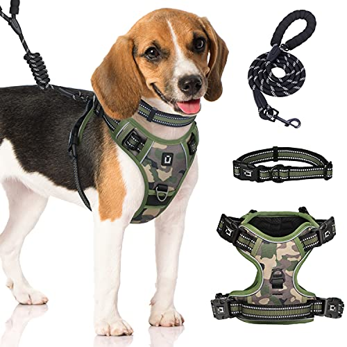 Dog Harness for Small Dogs Waldseemuller Camo Dog Harness 4 Buckles Dog Harness Easy ON and Off Puppy Harness Walk Easy Harness for Dog Adjustable Soft Padded Pet Vest with Easy Control Handle