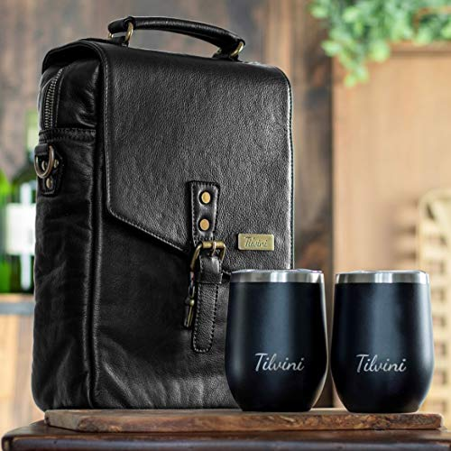 Tilvini - Bolsa de vino con aislamiento para 2 botellas de vino y vasos. Bolsa enfriadora de vino para playa. Cesta de picnic para vino y copa de vino, juego de regalo Regalo de vino para mujeres y hombres. Bolsa de viaje para accesorios de vino