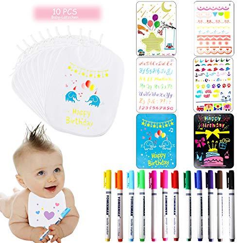 U&X Baby Lätzchen zum Bemalen 10 Stück Weiß Wasserdicht Lätzchen Baby und 6 Malen Schablonen 12 Farben Textilstifte Waschfest für Babyshower Babyparty Junge Mädchen