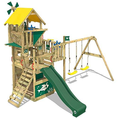 WICKEY Parco giochi in legno Smart Engine Giochi da giardino con altalena e scivolo verde, Casetta arrampicata da gioco con sabbiera per bambini