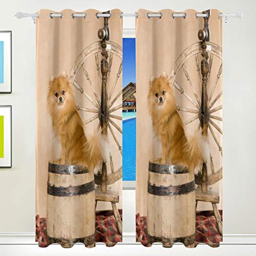 XiangHeFu Schöne Einrichtung Verdunklungsvorhänge mit Tülle Top Zwergspitz Spitz Vorhänge Set von 2Platten, je 55W x 84L Zoll für Home Wohnzimmer Schlafzimmer Büro