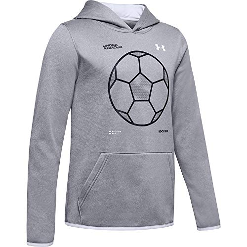 Under Armour Armour Fleece Soccer Icon Hoodie, Steel (035)/White, Youth X-Small