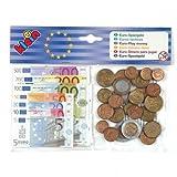 Juguete de imitación para niños Set de dinero de juguete de 60 piezas con 35 billetes y 25 monedas para cálculo y aprendizaje Cantida de billetes: 5 x 500 euros, 5 x 200 euros, 5 x 100 euros, 5 x 50 euros, 5 x 20 euros, 5 x 10 euros, 5 x 5 euros Cant...