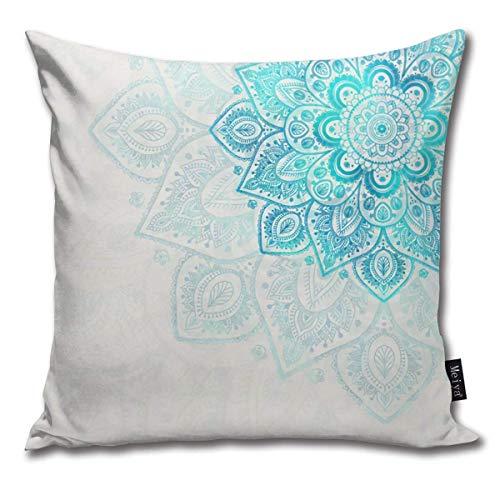ewretery Turquoise Flower Mandala Cushion Covers Home Decorative Throw Pillowcases for Livingroom Sofa Bedroom Car 18X18inch