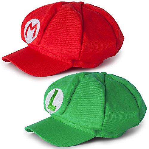 Katara Disfraz Super Mario Bros Nios / Adultos, Juego de 2 Gorras - Mario, Roja y Luigi, Verde