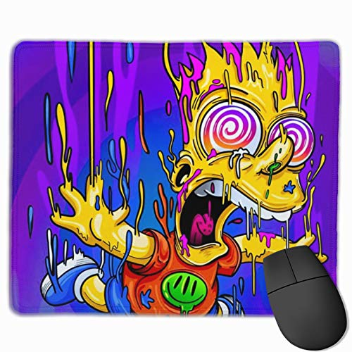 Novelty Mouse Pad for Gaming Laptop Decoration, The Simpsons Bart Simpson Waterproof Mouse Mat with Stitched Edge, Non-Slip Customized Mousepad 10x12 in