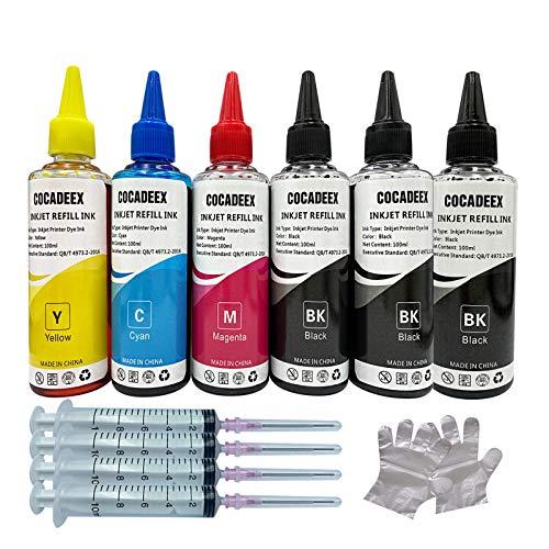 Cocadeex - Kit di ricarica per inchiostro da 600 ml, compatibile con stampanti a getto d'inchiostro HP Canon Brother Epson Lexmark