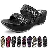 GP Wedge Platform Slide Sandals for Women: 0513 Black, EU39 (US Size 7.5-8)