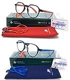 Pack 2ª unidad al 50% New Model última moda Gafas de lectura, presbicia, vista cansada, Diseño en 3 Colores. VENICE CARBON - Dioptrías: 1 a 3,5 (Pack Azul + Rojo, 2.50)