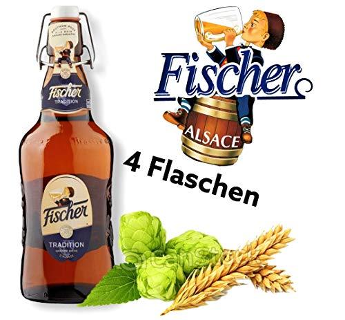 4 Flaschen Fischer Bier aus der Brasserie Fischer im Elsass,Bigbottel 650 ml