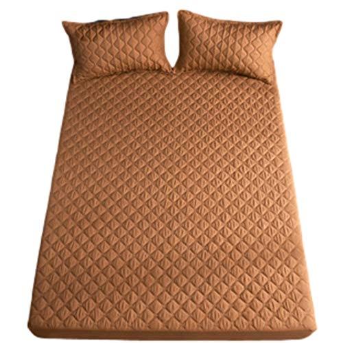 YUDIZWS Protector De Colchón Impermeable Cama Bambú Cubrecolchón Impermeable Cubre Ajustable Lavable & Silencioso No Produce Calor Ni Ruidos (Color : Brown, Size : 180x200+35cm)
