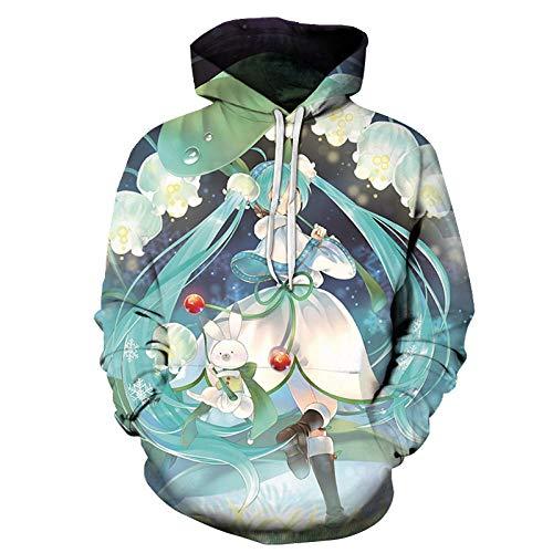 WHYSS sweatshirt met capuchon, Hatsune micu serie, trui met capuchon, met trekkoord, modieus, 3D-print, unisex