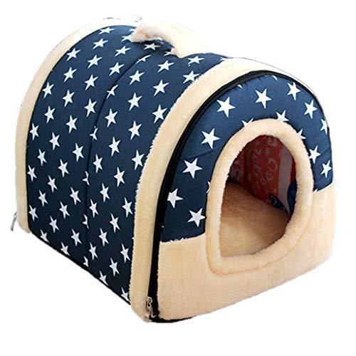 Koobysix Cat benodigdheden Cat Bed House grot met kussen groot, zelfverwarmende kat Cubby ingesloten voor katten geschenken voor uw katten, M, Blauw