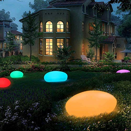 GEEDIAR LED Solar Ground Lights Garden Solar Lights with Remote Control Solar Floor Lamp IP54 Waterproof Decorative Lights Outdoor Indoor 16 Colors Colorful, 33cm x 25cm x 14cm