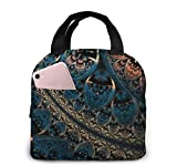 TTmom Abstract Artwork Digital Art Fractal Geometry Pattern Portable Insulated Lunch Bag Big Capacity Lunch Cooler Tote Bag for for Work School Travel Lunch Box with Front Pocket
