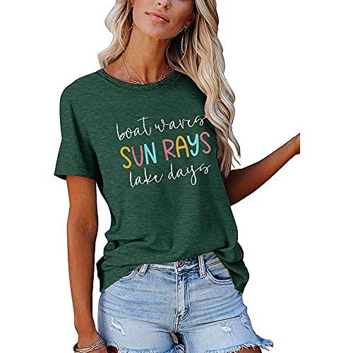 Camiseta Mujer Tops Mujer Linda Moda Letra Impresa Cuello Redondo Manga Corta Suelta Cómoda Vacaciones Ocio Tela Elástica Transpirable Mujer Blusa Mujer Camisas C-Dark Green S