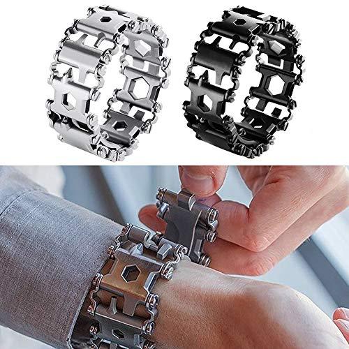 Shni 29-in-1 Multi-Tool Bracelet, Men Outdoor Detachable Tread Chains, Multifunction Bracelet Survival Bracelet, Screwdriver Wrench Can Bottle Opener for Hiking Camping Travel