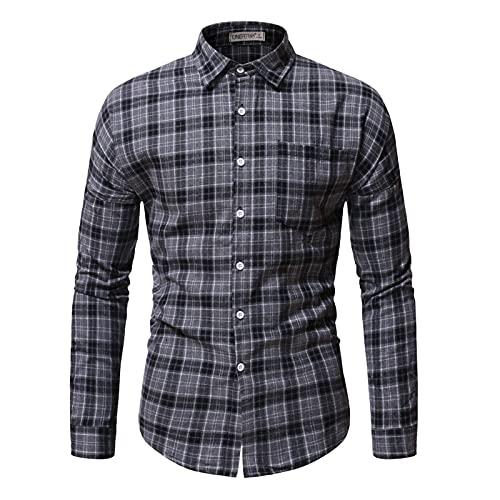 SSBZYES Camisas para Hombres Camisas De Manga Larga para Hombres Camisas De Color Sólido Camisas Casuales para Hombres Camisas De Solapa a Cuadros Tops Casuales para Hombres